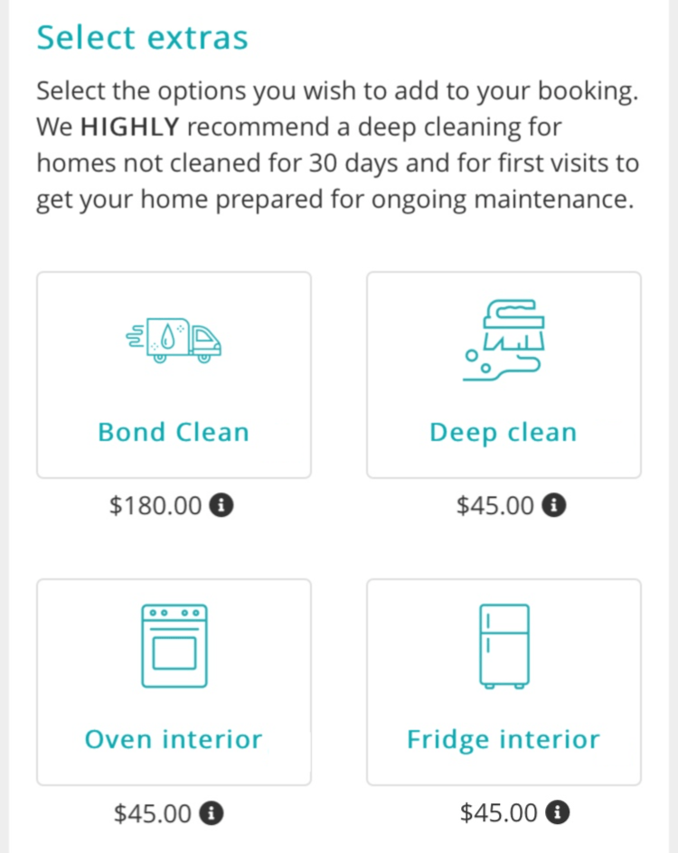Select extras to add to your cleaning service