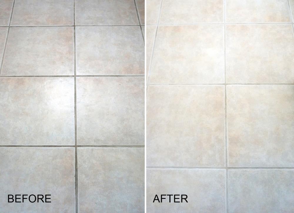 clean grout between tiles