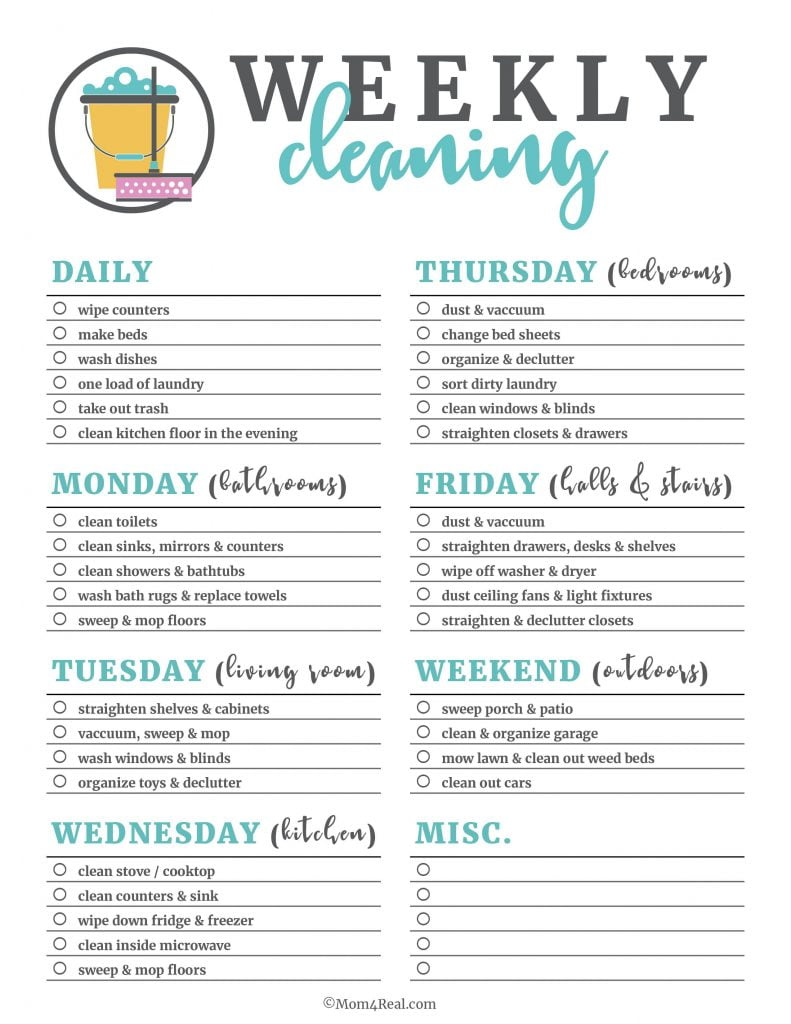 clean your house fast and properly by using a checklist